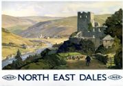 North East Dales, Yorkshire. LNER Vintage Travel Poster by E Byatt. 1930